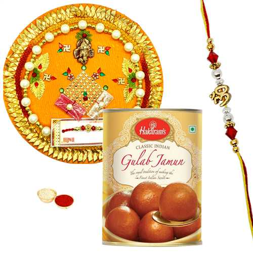 Rakhi Thali with Ethnic Rakhi and Haldirams Gulab Jamun
