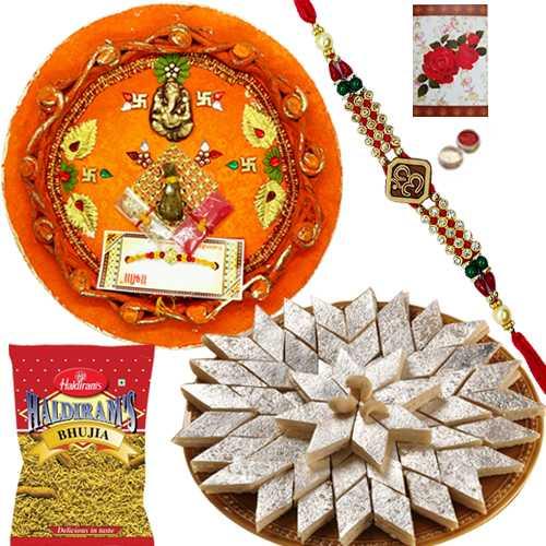 Rakhi Thali with One or More Designer Ethnic Rakhi and Kaju Katli n 200 Gms. Haldirams Bhujia<br /><font color=#0000FF>Free Delivery in USA</font>