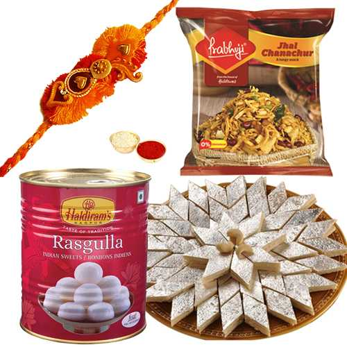 Big Hamper with One or More Rakhi Options<br /><font color=#0000FF>Free Delivery in USA</font>