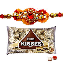 Wholesome Chocos from Hersheys Kisses 75 Gms. and Jeweled Raksha Bandhan