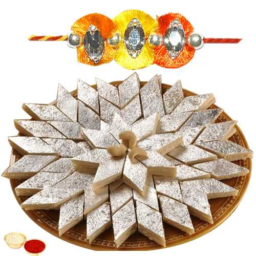 One or More Jewelled Rakhi with 250 Gms. Kaju Katli<br /><font color=#0000FF>Free Delivery in USA</font>
