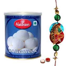 Sizzling Zardosi Rakhi with Haldirams Rasgulla Pack 1 Kg.