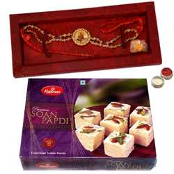 22 K Gold Plated Divinity Rakhi<br><font color=0000FF>Free Delivery in USA</font>
