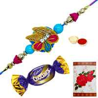 Gorgeous Rakhi with Zardozi Works, a Chocolate and a Free Greetings Card