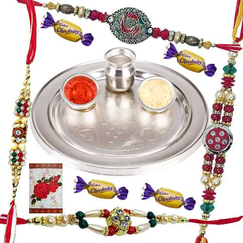 Silver Plated Rakhi Thali with Four Rakhi n 4 Chocolates<br /><font color=#0000FF>Free Delivery in USA</font>
