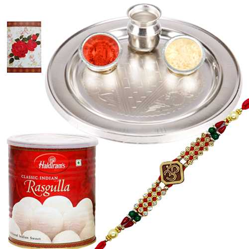 Silver Plated Thali with One Om/Ganesh Rakhi n Haldirams Rasgulla<br /><font color=#0000FF>Free Delivery in USA</font>