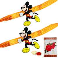 2 Mickey Mouse Rakhi with Roli Tika<br /><font color=#0000FF>Free Delivery in USA</font>