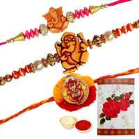 3 Auspicious Ganesh Rakhi ( Non Tracking )<br><font color=#0000FF>Free Delivery in USA</font>