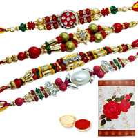 Divine Collection of 4 Rakhi<br><font color=#0000FF>Free Delivery in USA</font>