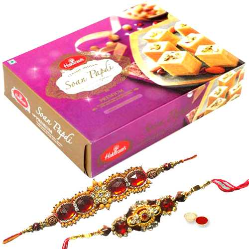 2 Ethnic Rakhi with 250 gm Haldiram Soan Papdi<br><font color=#0000FF>Free Delivery in USA</font>