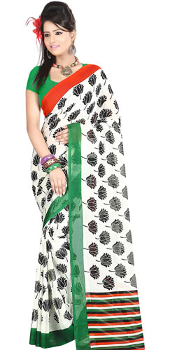 Exotic Dani Georgette Printed Saree in White