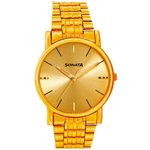 Golden Colour Round Gents Watch By Titan Sonata