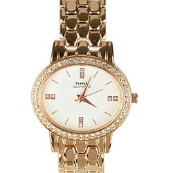 Pretty Stone Studded Golden Wrist Watch for Women