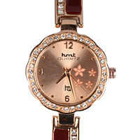 Exciting Gift of Pretty Ladies Wrist Watch in Rose Gold & Maroon Colour
