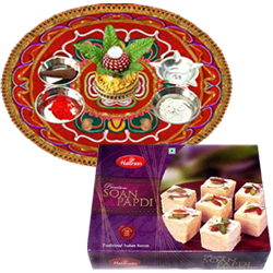 Diwali Thali with  Soan Papri from Haldirams
