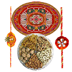 Extravagant Thali with Rakhis and Array of Dried Fruits
