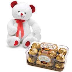 8� Teddy Bear ( White / Pink / Red ) with 100 Gms. Handmade Chocolate Box
