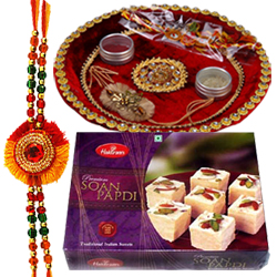 Auspicious Rakhi with Puja Thali and 100 gm. Soan Papri
