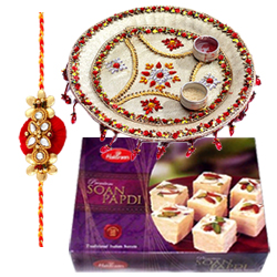 Lasting Memories One Rakhi with Designer Thali and Soan Papri