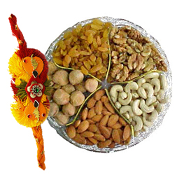Gorgeous 100 gms Mixed Dry Fruits with 1 Rakhi with Blessings