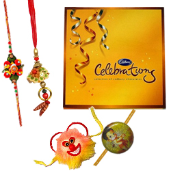 Lovely Cadbury Celebration Pack with 1 Bhia Bhabi Rakhi and 1 Kids Rakhi with Bond of Love