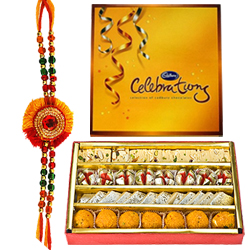 Attractive Cadbury Celebration Pack and Mixed Sweets with Rakhi