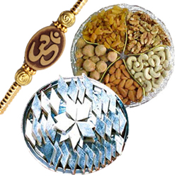 Delicious Kaju Katli and Dry Fruits with Om Rakhi