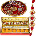 Sweets with Rakhi Thali and 1 Rakhi