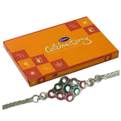 Auspicious Silver Plated Rakhi and Cadbury Celebration for Kids with Love
