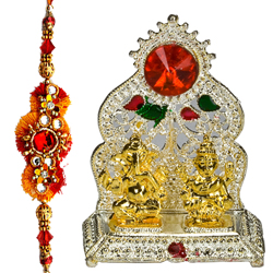 Admirable Silver ganesh lakshmi mandapam with Rakhi