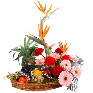 Rich Combo Gift Basket of Flowers and 5 Kg. Fruits